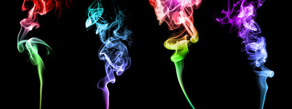 Set of bright colored smoke Stock Photos