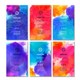 Set of Bright Colorful Cards. Vector Decorative Backgrounds. Vibrant Bg Texture for Business Cards, Web Banners, Invitation Cards, Party Posters and Royalty Free Stock Photo