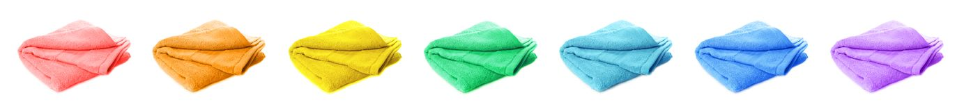 Set of bright colorful clean soft towels stock photography
