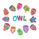 Set bright colorful cute owls round frame for your text on white background, funny birds face with winking eye, bright colors. Vec. Tor illustration Royalty Free Stock Images