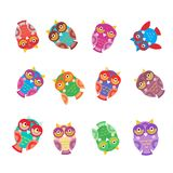 Set bright colorful cute owls on white background, funny birds face with winking eye, bright colors. Vector. Illustration Stock Photography