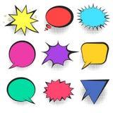Set of bright colorful retro comic speech bubbles Stock Photo