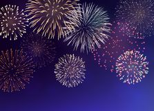 Background with Colorful Fireworks. Set of bright colorful fireworks, EPS 10 contains transparency Stock Photography