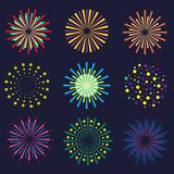 Set of bright and colorful fireworks. Festival fireworks on dark background. Vector Stock Images