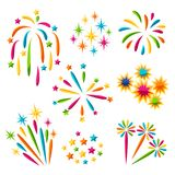 Set of bright colorful fireworks and salute.  Royalty Free Stock Photography
