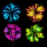 Set of bright colorful fireworks and salute.  Stock Photography