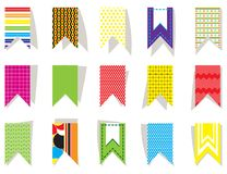 Set of bright, colorful flags for festive decor. Festive decoration of birthday, party, anniversary, new year, event. Set of bright, colorful flags for festive Stock Photos