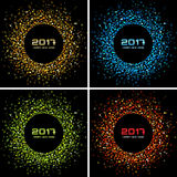 Set of Bright Colorful New Year 2017 circle frame Backgrounds. Transparent confetti circles new year frames. Collection of Light shining circle backgrounds royalty free illustration