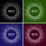Set of Bright Colorful New Year 2017 circle frame Backgrounds. Transparent confetti circles new year frames. Collection of Light shining circle backgrounds vector illustration
