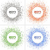 Set of Bright Colorful New Year 2017 circle frames on white Backgrounds. Transparent confetti circles new year frames. Collection of Light shining circle vector illustration