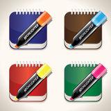 Set of bright and colorful notes and highliters Stock Image