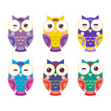 Set bright colorful owls on white background Royalty Free Stock Photos