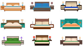 Set of bright colors nine bed collection with bedside tables and lamps. Royalty Free Stock Photography