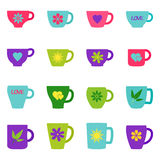 Set of bright cups and mugs,  illustration. Collection of bright cups and mugs,  illustration Royalty Free Stock Images