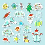 Set Of Bright And Cute Cartoon Christmas Stickers With Cute Characters And Phrases. Set Of 18 Bright Cartoon Christmas Stickers With Cute Characters And Phrases Stock Photo