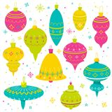 Set of bright decorative Christmas balls, Greeting card illustration, wrapping design Royalty Free Stock Images