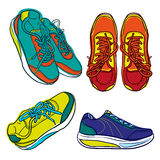 Set of bright doodle contour shoes. cartoon sneaker isolated on white Stock Images