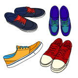 Set of bright doodle contour shoes. cartoon sneaker isolated on white Royalty Free Stock Photos