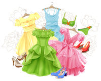 Set of bright dresses, bikini and shoes Stock Image
