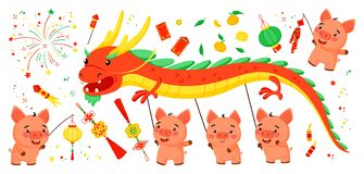 Set of bright elements for the Chinese New Year of the Pig. stock illustration