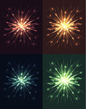 Set of bright explosions with rays and glare Royalty Free Stock Images