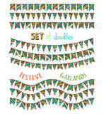 Set of bright festive bunting and garlands isolated on white bac Royalty Free Stock Image