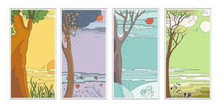 Set bright flat vector natural backgrounds. Four seasons. Hot summer day, rainy autumn falling leaves, frosty snowy. Winter twilight in the forest and sun Royalty Free Stock Photo