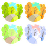 Set of bright flat vector natural backgrounds. Four seasons in nature - summer, winter, fall, spring. City park or Royalty Free Stock Photo