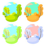 Set of bright flat vector natural backgrounds. Four seasons in nature - summer, winter, fall, spring. City park or Stock Image