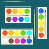 Set of bright flat vector watercolor paints in box for drawing lessons with different colors palette. Set of bright flat vector kids watercolor paints in box for royalty free illustration