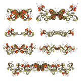 Set of bright floral design elements and page decorations. Stock Image