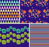 Set of bright floral and geometric patterns. Ornaments with beautiful flowers Royalty Free Stock Photo