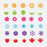 Set of bright flower stickers  Stock Photos
