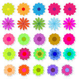 Set of bright flower stickers vector Stock Image