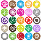 Set of bright flowers icons Stock Photos