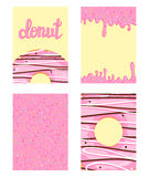 Set of bright food cards. Set of donuts with pink glaze. Donut pattern, background, card, poster. Vector illustration template for. Any design stock illustration