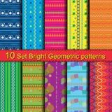 10 Set Bright Geometric patterns. 10 Set seamless Bright Geometric Backgrounds patterns vector illustration