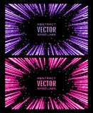 Set of bright glowing neon speed lines. Template for poster, banner, invitation to night party in club. Festive illustration with effect power explosion. Set Stock Images