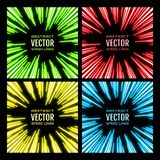 Set of bright glowing neon speed lines. Template for poster, banner, invitation to night party in club. Festive illustration with effect power explosion. Set Royalty Free Stock Images
