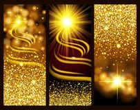 Set of bright gold banners holidays, new year, Christmas. Gold glitter, glow, lens effects. Design card. Vector illustration Stock Photography