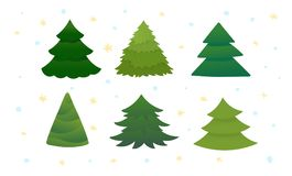 Set of bright green christmas trees. Doodle, hand drawn style. Six fir-trees. Vector illustration isolated on white background Stock Photography