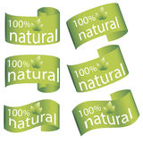 Set of bright green labels, flag with leaves for organic, natural, eco or bio products Stock Image