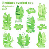 Set of bright green labels with leaves for organic, natural, eco or bio products. Royalty Free Stock Photos