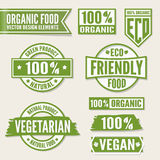 Set of bright green labels and logo. Natural, eco Stock Photos