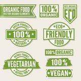 Set of bright green labels and logo. Natural, eco Stock Photos