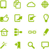 Set of bright green vector icons. Royalty Free Stock Photos