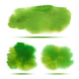 Set of bright green - yellow spring watercolor vector grunge stains Stock Photos