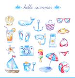 Set of bright hand drawn beach icons Royalty Free Stock Photography