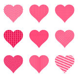 Set of bright hearts with pattern,  illustration. Collection of bright hearts with pattern,  illustration Royalty Free Stock Image