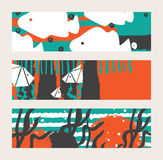 Set of bright  horizontal banners with fish and seaweed. Abstract conceptual illustration with hand drawn elements. Set of bright  horizontal banners with fish Stock Photo